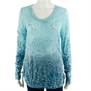 Lucy Burnout Tee Womens Size Medium Floral Blue